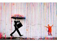 Banksy Rainbow Rain Girl Man Umbrella Street Art A2 Paper Laminated Encapsulated Poster Graffiti