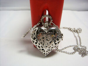 steampunk-European-silver-HEART-vintage-pocket-locket-watch-necklace