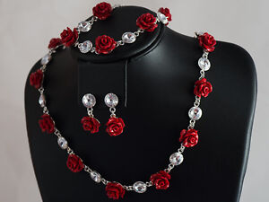 GENUINE-SWAROVSKI-CRYSTAL-Rivoli-Coral-SET-earrings-Necklace-Bracelet