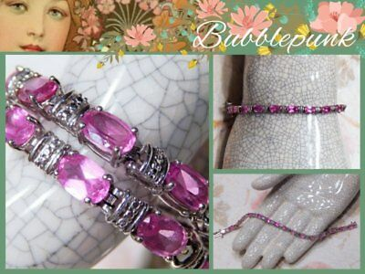 White Gold Pink Tourmaline Bracelet - JAFA Signed Solid 10k White Gold Pink Tourmaline Gemstone Tennis Bracelet 7.7g