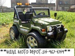 MINI MOTO DEPOT VOITURES ELECTRIQUE JEEP 514-967-4749 VERT