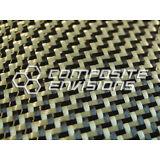 "Carbon Fiber/Yellow Kevlar Fabric 2x2 Dual Twill 50"" 3k 5.5oz"