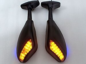 Matt black LED Turn Signal Integrated Mirrors for Suzuki GSX-R 600 750 Hayabusa