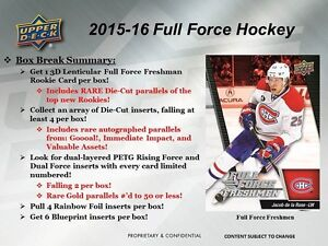 2015-16 Upper Deck Full Force Hockey Trading Cards Box Kitchener / Waterloo Kitchener Area image 3