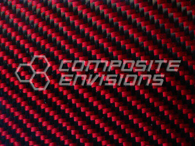 Carbon Fiber Made With Kevlar Red Panel .012.3mm 2x2 Twill - Epoxy-36 X 60