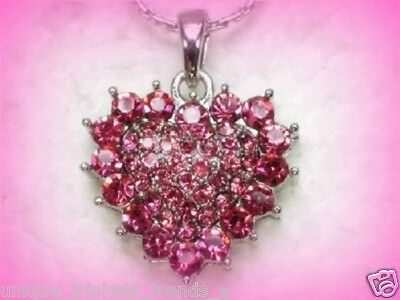 ROSE PINK RHINESTONE SILVER HEART NECKLACE~MOTHERS DAY BIRTHDAY GIFT FOR HER MOM - Mothers Day Pink Rose