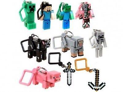 Minecraft 3D Porte-Clés Set Of 10 Porte-Clés Ceinture Hangers Jouets Cadeau Noël