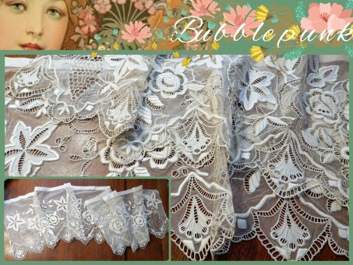 Antique Heavily Hand Embroidered Silk Thread Net Lace Scarf Valance 81x17