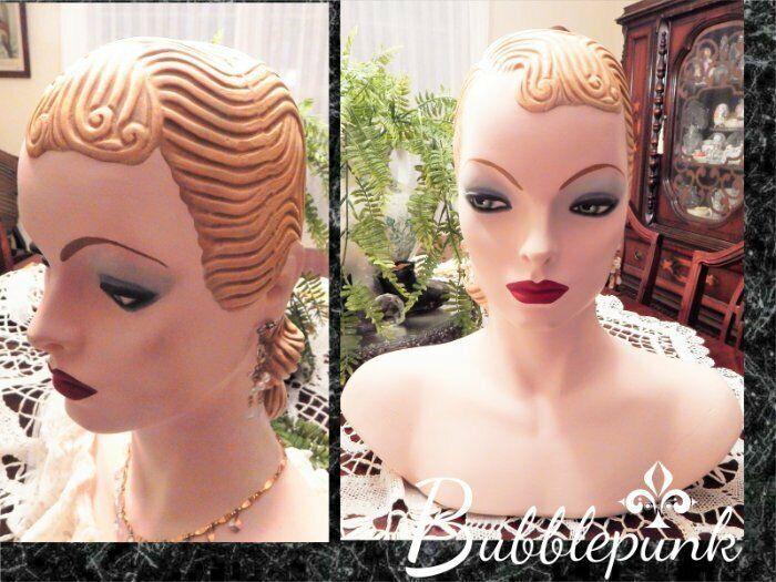 Original Vintage Art Deco Heavy Plaster Mannequin Head Millinery Jewelry Display