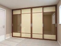 Bespoke Fitted Wardrobes - Sliding Door Wardrobe with glass or mirrored door