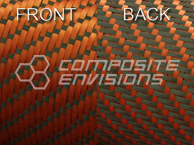 Reversible Carbon Fiber/ Orange Kevlar Fabric 3x1 Twill 50