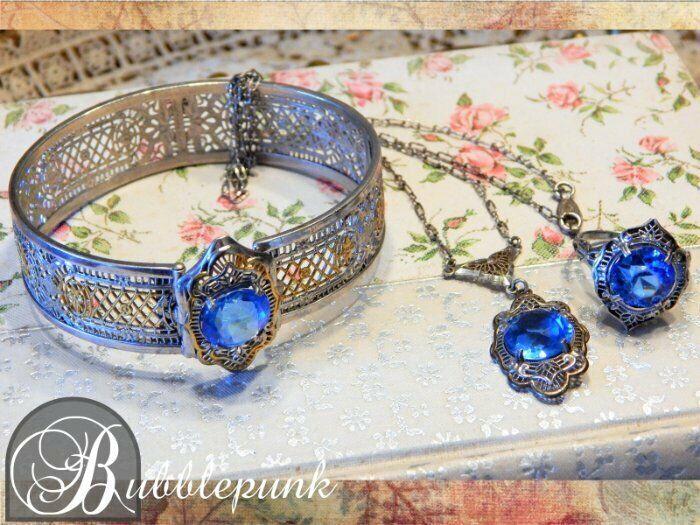 Art Nouveau Filigree Sapphire Glass Bracelet Lavalier Necklace Ring Set Sterling