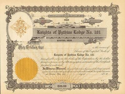 Knights of Pythias Lodge 101 > Kenton Ohio stock certificate share