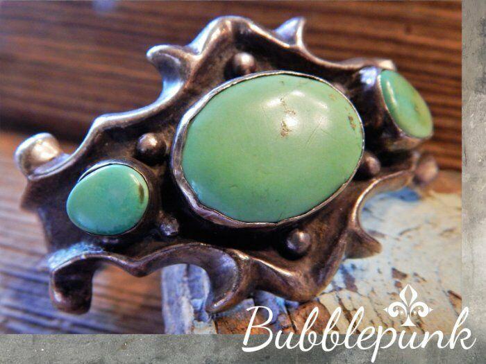 925 Sterling Silver Blue-Green Turquoise Sand Cast Southwest Cuff Bracelet 71gr