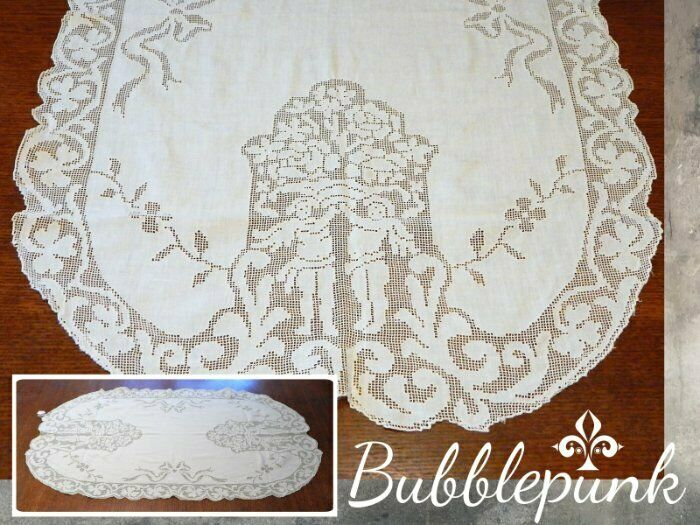 Antique Open Work Lace Cherub Clover Linen Table Runner 38x22 ~ Designer Estate