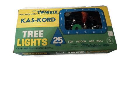 VINTAGE KAS-KORD CHRISTMAS TREE 25 LIGHT SERIES C-9 Westinghouse Lamps