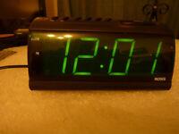 Big Green Digit Alarm Clock In Black In Good Condition