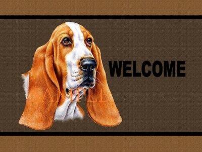 Basset Hound Dog Breed Art Portrait Welcome Home Doormat Door Mat Floor Rug Basset Hound Dog Portrait