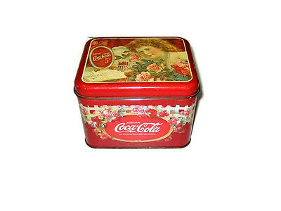 Coca Cola Victorian Style Floral Tin Container Metal Coke Decorative Roses - 80s Decorating Style