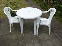 Garden Table & 2 Chairs In White