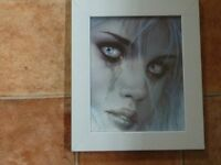 GOTHIC CRYING GIRL PICTURE IN SILVER PAINTED WOOD FRAME, WALL OR FREE STANDING (NEW)