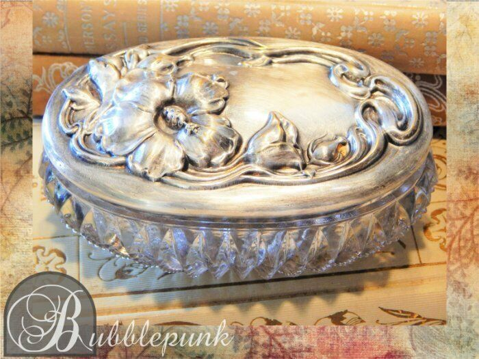 Antique Victorian Repousse Sterling Silver ~ Zipper Glass Trinket Jewelry Box