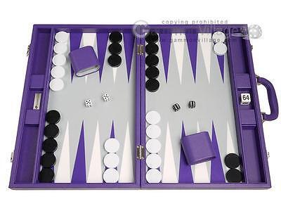 - 19-inch Premium Backgammon Set - Large Size - Purple Board, Backgammon Game