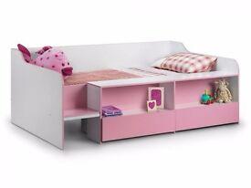 Stella Pink and White Wooden Kids storage bed frame - unused with brand new pocket sprung mattress.