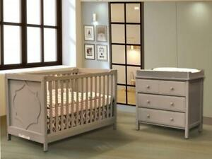 Trio Moon: Lit de bébé convertible 4 en 1 Moon + Bureau à langer Moon + Matelas Peaceful Night (Gris)