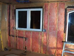 Fiberglass and foam board insulation installers