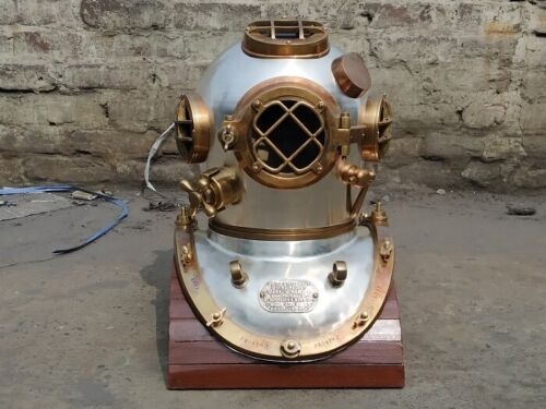 Vintage Silver Mark V Diving Helmet Navy Deep Sea Divers Marine Scuba Heavy helm