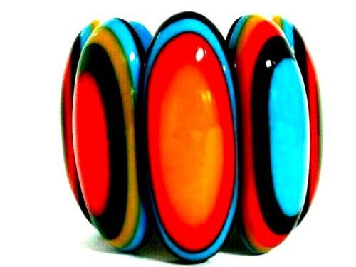 MASSIVE Runway Multi Color Resin Bulls Eye Stretch Bracelet HUGE Statement WOW
