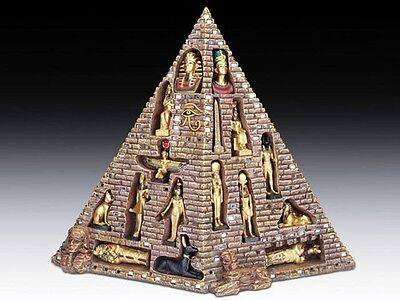 Ancient Egyptian Pyramid Eye of Horus with 16 Mini Deities Figurine Statue Myth