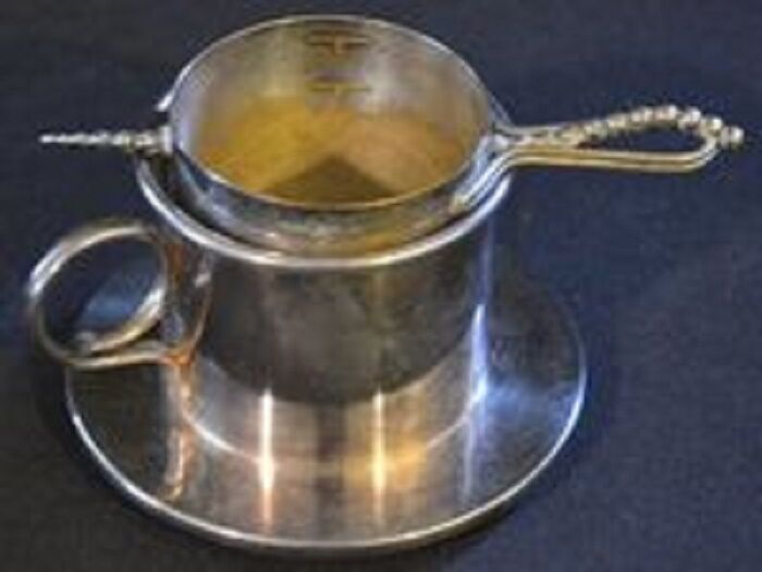 Antique Silverplate Cup with Strainer and Separate Scoop--FREE SHIPPING--