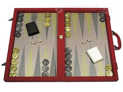 Dal Negro Backgammon Set (Dal Negro Composite Fiber Backgammon Set - Red - Classic Board Game )
