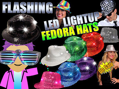LED Flashing LightUp Sequin Fedora Hats - Several Colors To Choose! *PARTY FUN* - Sequin Fedora