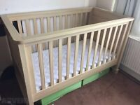 2 x MAMAS AND PAPAS HORIZON COT BED WITH OR WITHOUT MATTRESS ALSO 1 x OVER THE COT TOP CHANGER