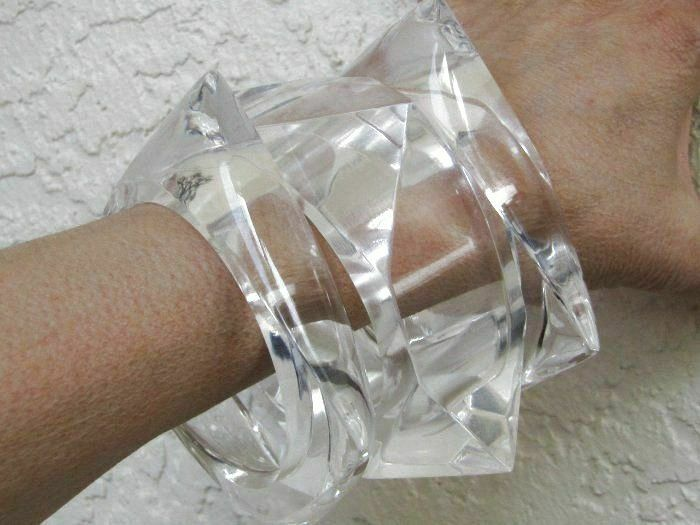 FABULOUS Lot Chunky Clear Lucite Stack Bangle Bracelets 3 Unique Shapes Runway