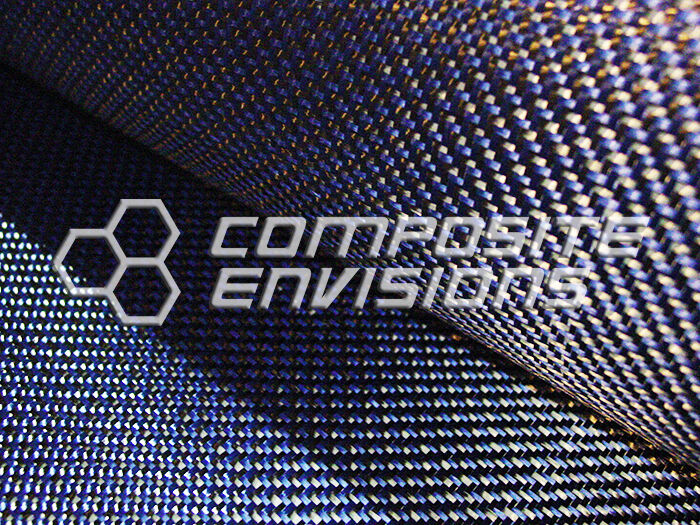 "Carbon Fiber Made with Kevlar Blue Fabric 2x2 DUAL Twill 50"" 3k 6.5oz"