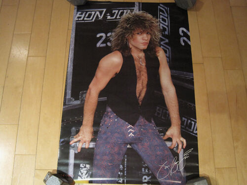 WOW!! 1987 vtg JON BON JOVI band BACKSTAGE promo POSTER CONCERT art MUSIC NOS