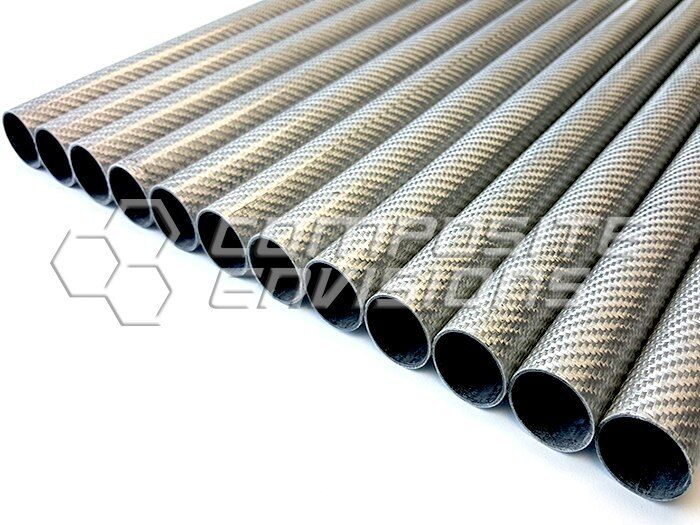 "Roll Wrapped Carbon Fiber Tube Silver Aluminized Twill Gloss-1"" OD-48"""