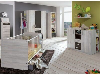 Babyzimmer Cariba 8 tlg. Weißeiche Kleiderschrank Babybett Wickelkommode Regal