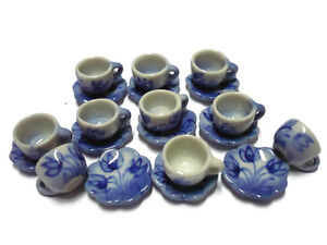 10 Blue Tulip Coffee Cup +10 Scalloped Plate Dollhouse Miniatures Hand Paint
