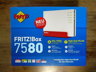 Original FRITZBox 7580 WLAN Router DSL-VDSL 1 Gigabit-WAN 4 x 4 WLAN USB 3.0 NEU