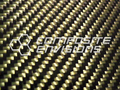 Carbon Fiber Panel Made With Kevlar Yellow .022.56mm 2x2 Twill-epoxy-12x24