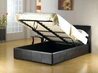 BRAND NEW FAUX LEATHER SINGLE/DOUBLE/KINGSIZE OTTOMAN STORAGE BED FRAME WITH MATTRESS OF CHOICE