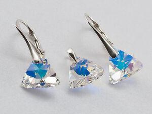 GENUINE-SWAROVSKI-CRYSTAL-Pyramid-earrings-pendant-SET-40-SALE