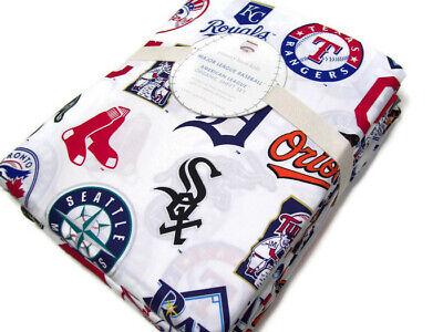 Pottery Barn Kids MLB BaseBall American League Team Logo Queen Sheet Set New