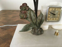 Art Deco table lamp 1930 with working clock