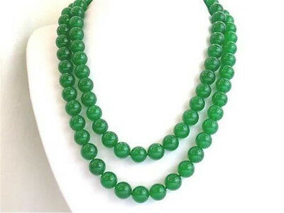 Natural 10mm green jade round beads necklace 35
